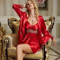 XIFENNI Brand Women Bathrobes Two-Piece Imitation Silk Robe Sets Fashion Red Sleepwear Embroidery Lace V-neck Lingerie Set 8207