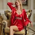 XIFENNI Marca Mujeres Albornoces Robe Sets de Dos Piezas de Seda de Imitación de Moda Rojo ropa de Dormir de Encaje Bordado Con Cuello En V de la Ropa Interior Fijó 8207