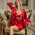 XIFENNI Marca Mulheres Roupões Two-Piece Imitação Sets Robe De Seda Moda Sleepwear Vermelho Bordado de Renda Com Decote Em V Conjunto de Lingerie 8207
