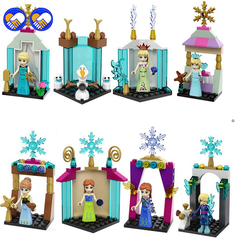 A toy A dream 8pcs 117-118 Mini Princess Anna Elsa Olaf Lepine Building Blocks Christmas gifts Toys For Girl compatible legoings lepine model