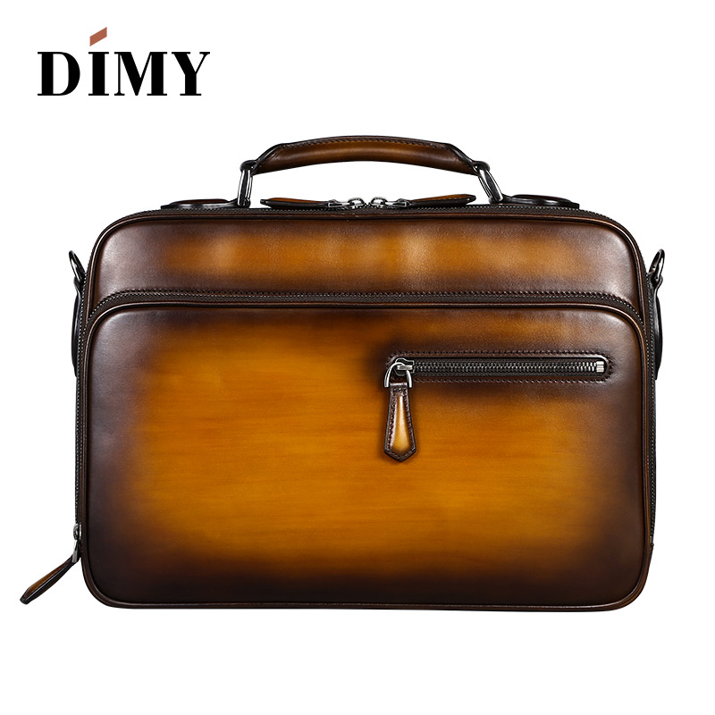 a35650c6fd06 New Wholesale Tobacco polished Venezia leather calfskin leather briefcase  Casual Handbags Men s Travel Bags Laptop pouch Bag -in Briefcases from  Luggage ...