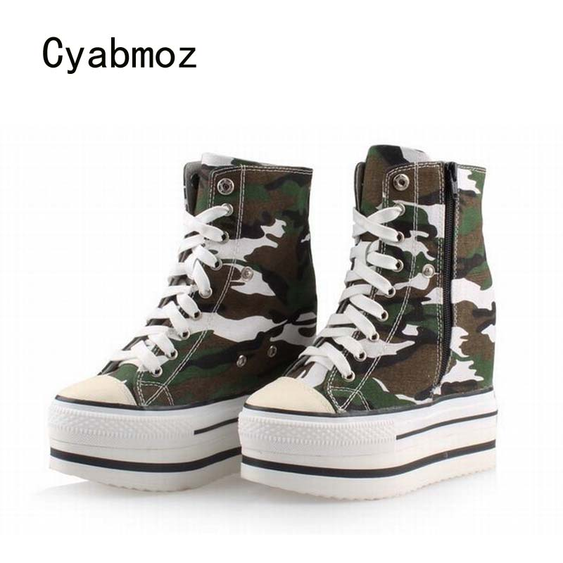 Cyabmoz Women Shoes Platform High heels Woman Camouflage Thick bottom Height increasing Wedge Shoes Zapatos mujer Tenis feminino цена и фото