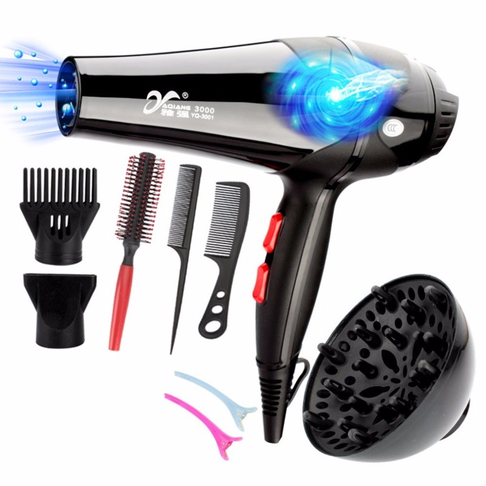 YAQIANG Pro 3000W 110/220V Hair Dryer Blue Light Anion Ceramic Ionic Fast Styling Blow Dryer AC Motor Salon&Home Use Hair Drier гурина и потягушки на подушке потешки с наклейками