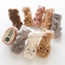 Домашние носки для малышей; носки для новорожденных; зимние детские толстые теплые нескользящие носки с рисунками животных для маленьких мальчиков и девочек; тапочки;# F84