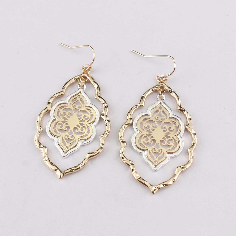 Silver plated filigree cut out green teardrop earrings gift for her