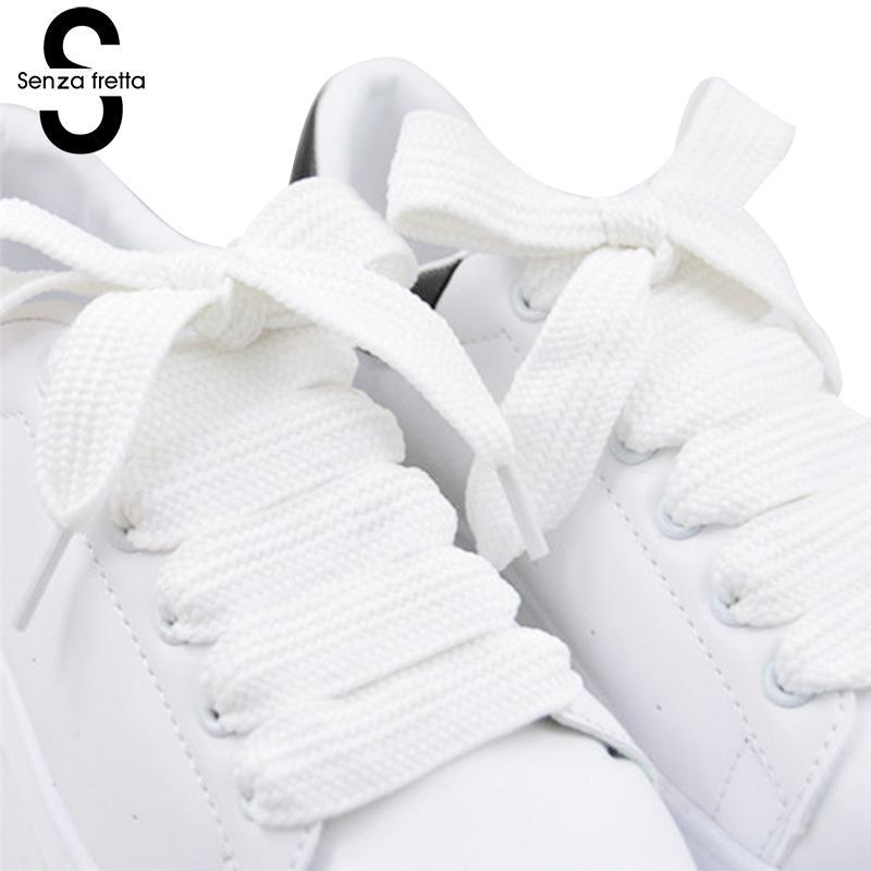 Senza Fretta Wide Shoelace 120*1.5cm Double Layer Shoe Shoelaces Fat Shoe Laces Shoelaces For Sneaker Sport Shoes Laces LDD0617