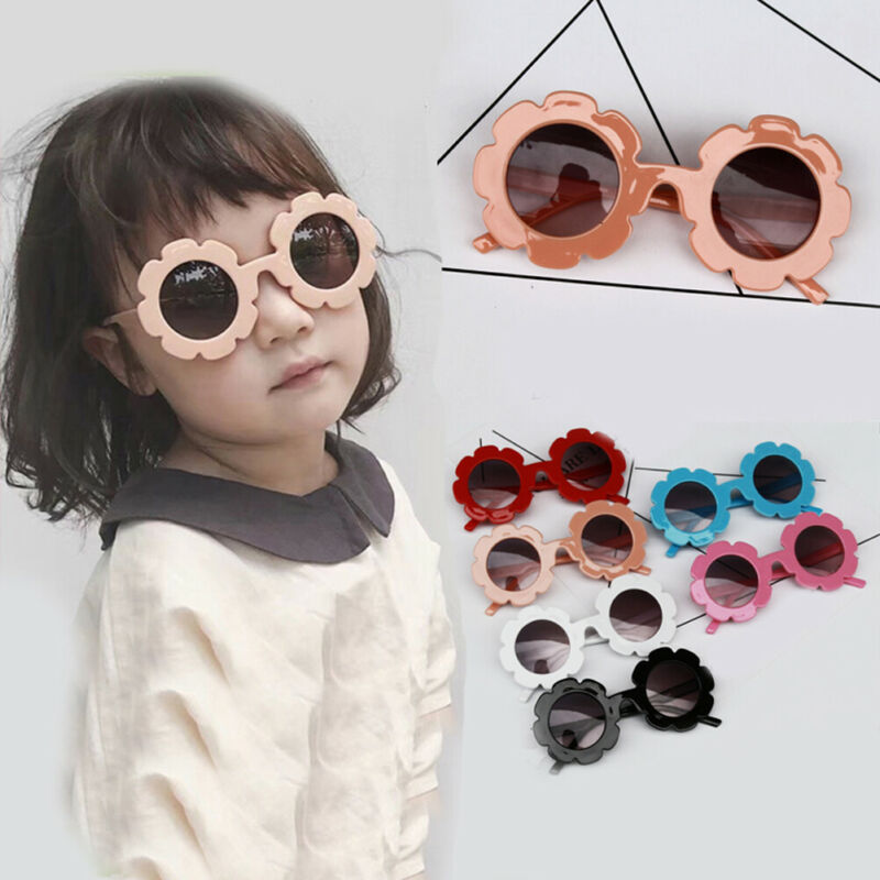 Kids Sunglasses Flower Boys Girls Round Glasses Children Baby Plastic Outdoor Eyewear Fashion UK