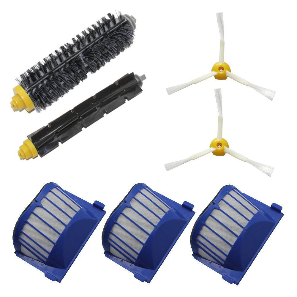 Aero Vac Filter Bristle Brush Flexible Beater Brush 3-Armed Side Brush For iRobot Roomba 600 Series (620 630 650 660) Cleaning aero vac filter bristle brush flexible beater brush 3 armed side brush tool for irobot roomba 600 series 620 630 650 660