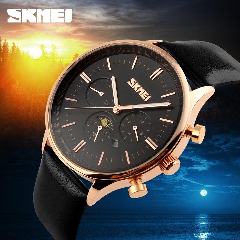 Новый известный бренд Роскошные Для мужчин s часы Бизнес часы из натуральной кожи роскошные часы Для мужчин часы Кварцевые наручные часы ...