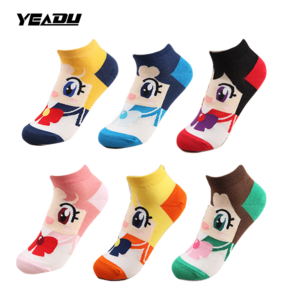YEADU 6 Colors Spring Autumn Fashion Cartoon Sailor Moon Cute Funny Boat Cotton Women's Socks Sweet Gift