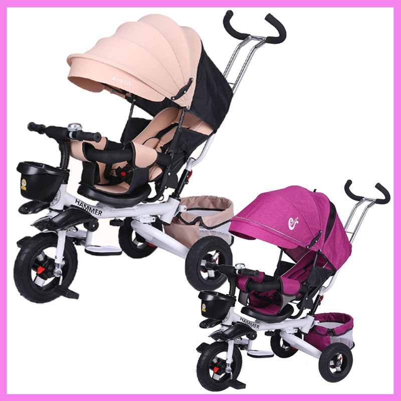 One-button Folding Child Tricycle Bicycle Swivel Seat Baby Tricycle Stroller Reverse Pus ...