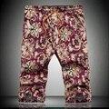 Verano Nuevos Hombres Playa Pantalones Cortos Florales Hombres Casual Vestido de Algodón de Los Hombres cortocircuitos Más El Tamaño 4XL, 5XL plus size 36 38 40 42 freeshipping