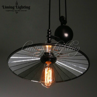 RH Loft Vintage Iron Industrial E27 LED Bulbs Country Pulley Pendant Lights Adjustable Hanging Wire Lamp