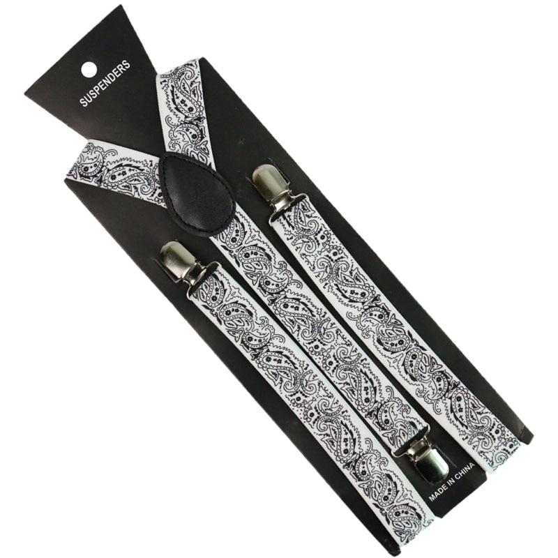 Winfox Black White Navy Men's Suits Elastic Women Suspenders Belt Strap Adjustable Braces Paisley Suspenders