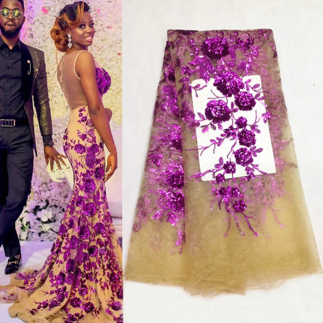 Sequined Style African High Quality Net Wedding Lace Fabric 2018 New Nigeria Sequins Guipure Tulle Sewing Evening Dress Material