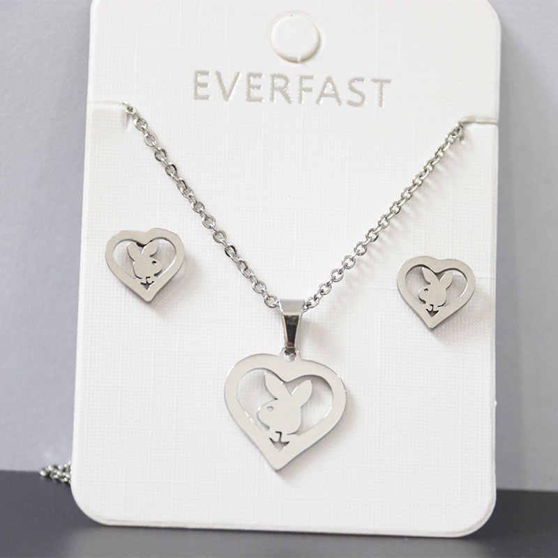 1 Juego de joyería personalizada de acero inoxidable de conejito conjunto de colgantes de corazón de conejo conjunto de pendientes collares de mujer niños joyería minimalista