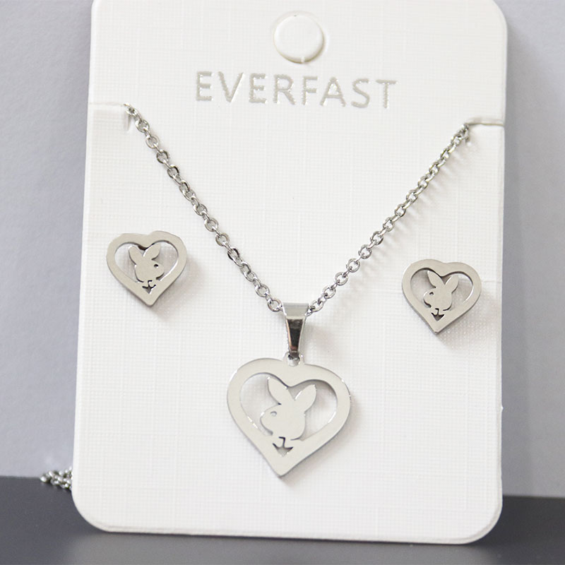 1Set New Custom Bunny Stainless Steel Jewelry Sets Rabbit Heart Pendants Necklaces Earrings Set Women Kids Minimalist Jewelry