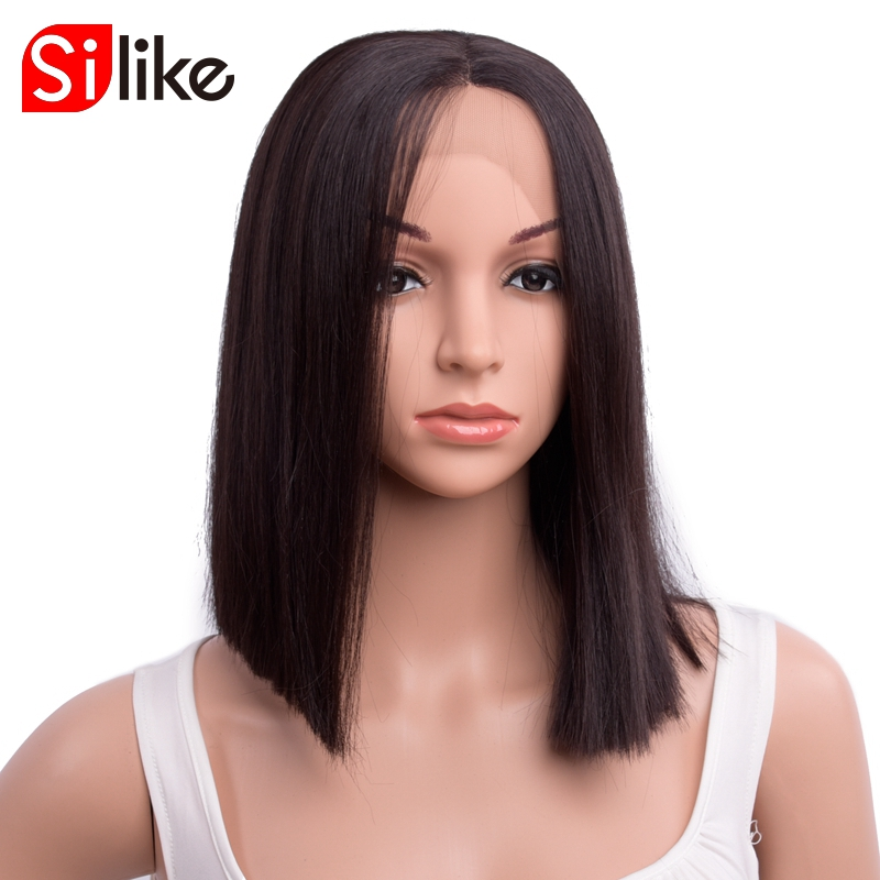 Silike Short Bob Cut Synthetic I Part Lace Front Wigs Kanekalon Heat Resistant Hair 14 Inch Wigs For Black Women