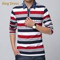 Hombre Camisa de Polo-Camisa de Alta Calidad de La Manera del Collar del Resorte del Otoño Completo Color de Contraste Rayas Ocasionales de Los Hombres de Manga Larga Camisas de Polo