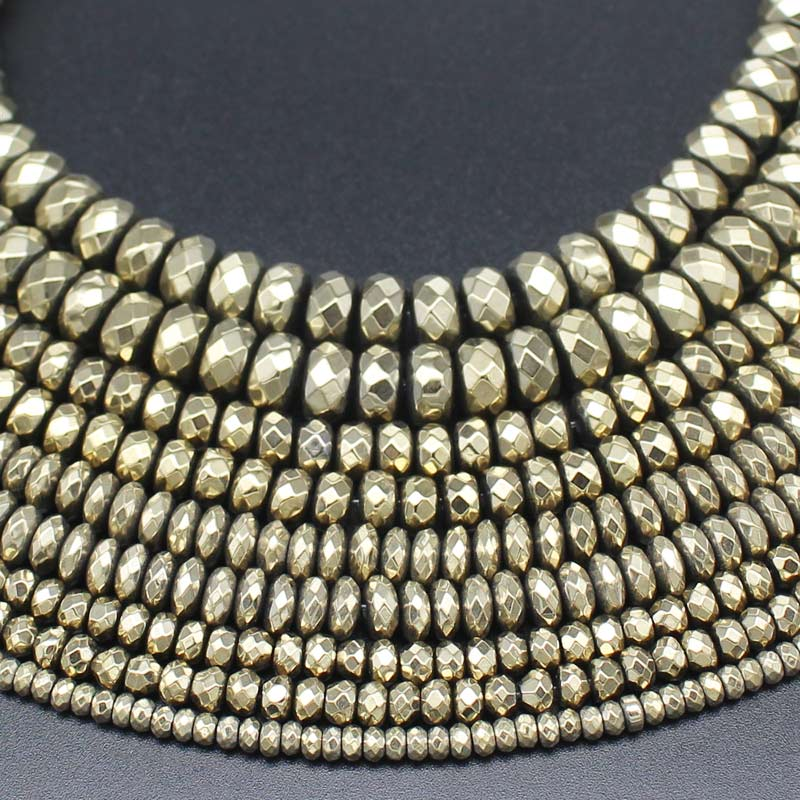 Hematite Plated Pyrite Faceted Rondelle Beads 15inch per strand, DIY Jewelry Making !We provide mixed wholesale for all items!