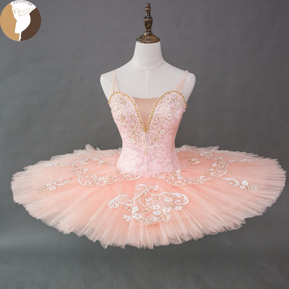 FLTOTURE Adult Professional Ballet Tutu Pink Color Sleeping Beauty Tutu Dresses XW1001 Girl Ballet Competition Costume For Sale