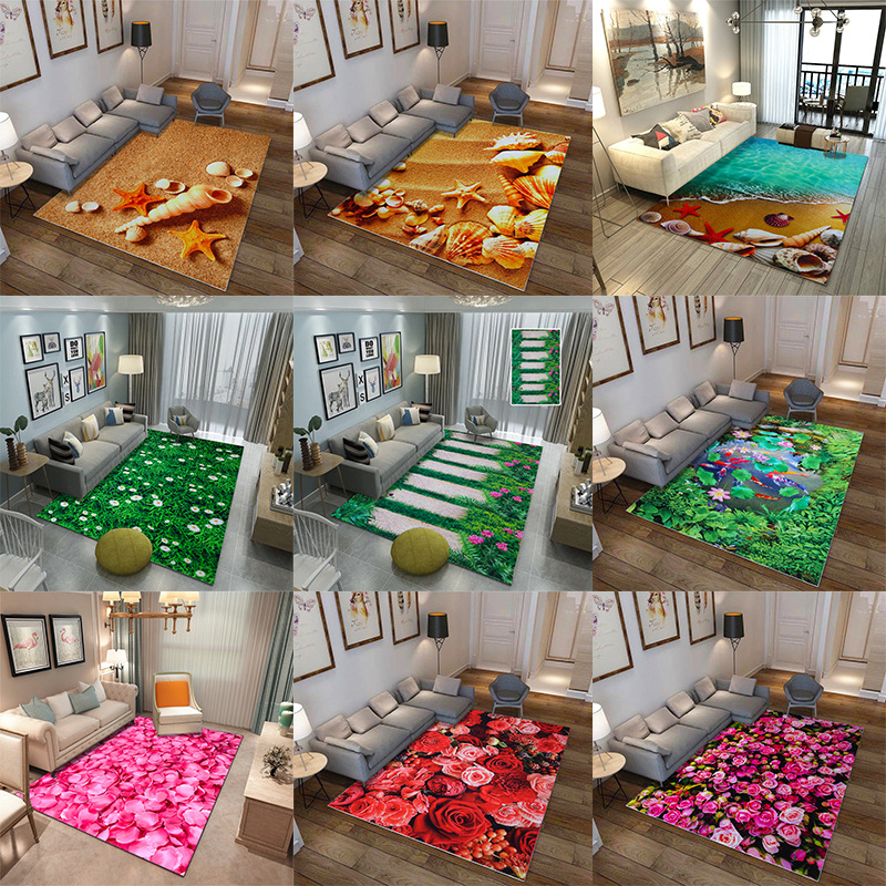 Pastoral Style 3D Printing Beach Floor Rug Fashion Home