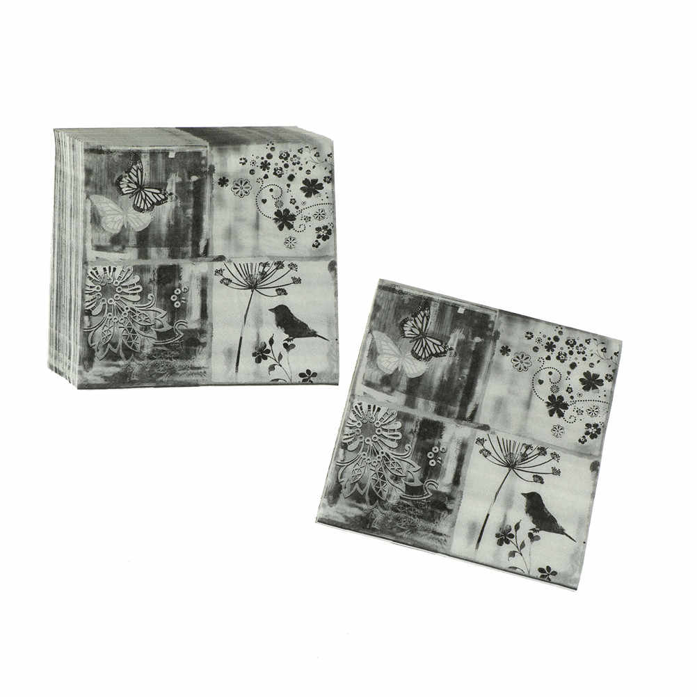 20 шт Мути-Стили Цветы Роза единорог животные бумажные салфетки кафе и вечерние салфетки украшение в технике декупажа бумага