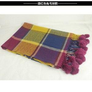 Image 5 - أوشحة كشمير منقوشة ملونة مع فراء الأرانب بوم بوم للسيدات للشتاء بطانية سميكة دافئة وشاح شال يلف bufanda موضة جديدة