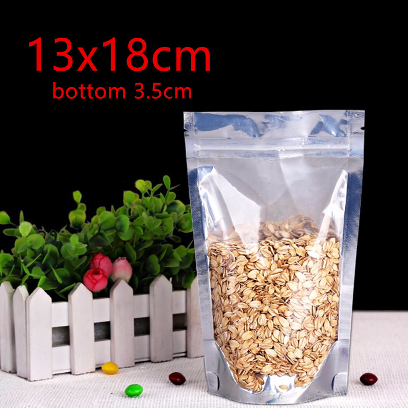 13 18cm 2000pcs Reusable Stand up Translucent Aluminium foil Bag Zip Lock Grip seal