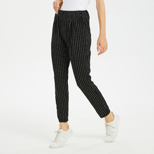2019 Women Striped Harem Pants Streetwear Full Length Elastic Waist Plaid Trousers with Pocket striped tape glen plaid pants