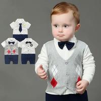 0 18M Newborn Baby Rompers Tie Gentleman Suit Bow Leisure Clothing Toddler Jumpsuit Costume Bebek Giyim