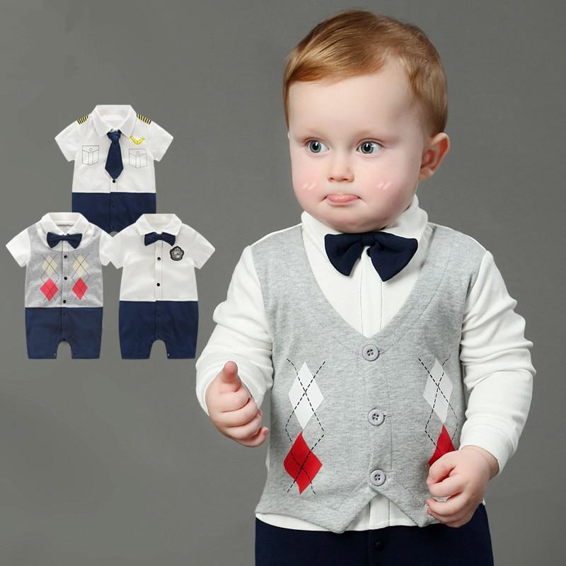 18b8d64d295e Newborn Baby Boy Rompers 100% Cotton Tie Gentleman Suit Bow Leisure ...
