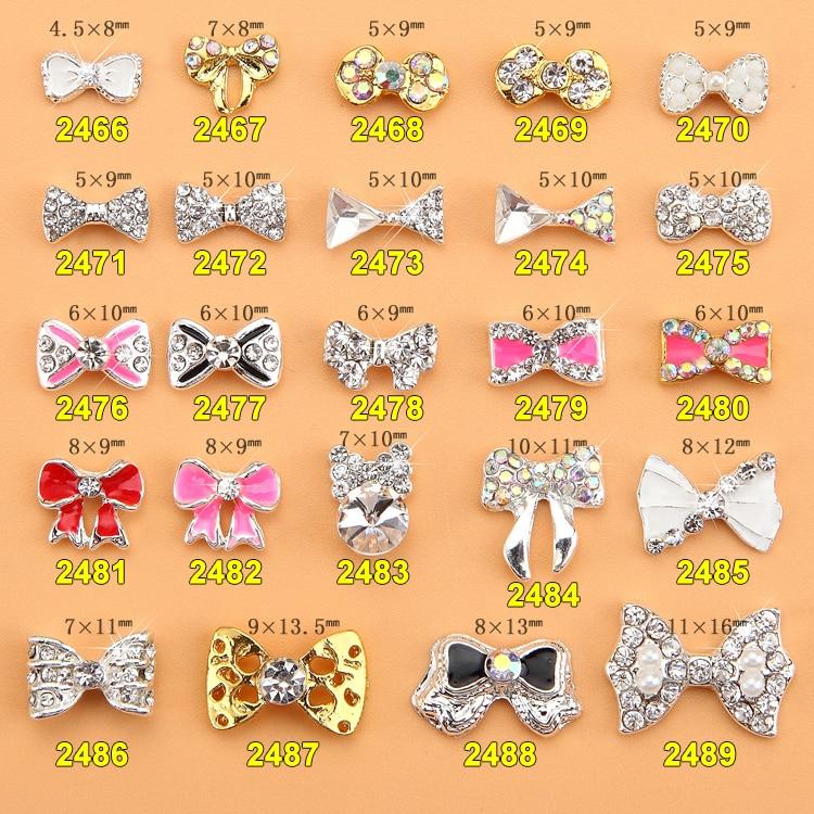 015 Fashion Shiny 500pcs Alloy Rhinestone Bowknot nail jewellery 3D Alloy Jewelry Nail Art Tips Decoration ML3499 3599 in Rhinestones Decorations from Beauty Health