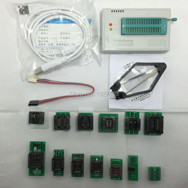 100% original. TL866A minipro Programador Universal de Alta velocidade Suporte Suporte ICSP FLASH \ EEPROM SOP \ PLCC \ MCU \ TSOP + 13 adaptadores