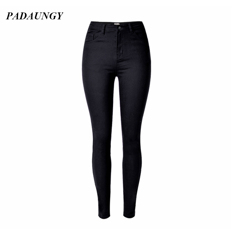 PADAUNGY Jeans Women High Waist Jeggings Skinny Pencil Pants Slim Trousers Plus Size Jardineira Feminina Fit Jegging Jean Femme fashion jeans femme women pencil pants high waist jeans sexy slim elastic skinny pants trousers fit lady jeans plus size denim