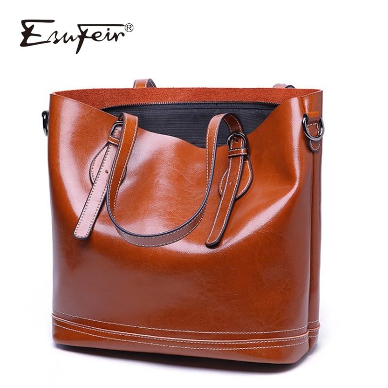 ESUFEIR Oil Wax Genuine Leather Women Bag Casual Tote Fashion Shoulder Bag Vintage Luxury Designer Large