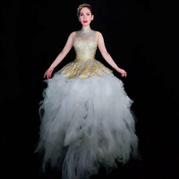 Золотое Платье пачка без рукавов для ночного клуба для певицы для сцены, костюм для вечеринки, модель Rave, одежда для бара, карнавальный наряд