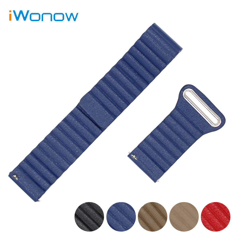 Genuine Leather Watch Band 22mm for Pebble Time / Steel Magnetic Buckle Strap Quick Release Wrist Belt Bracelet Black Blue Brown ac 220v ms 190 automotive air raid siren horn car truck motor driven alarm red universal car horn for pickup truck