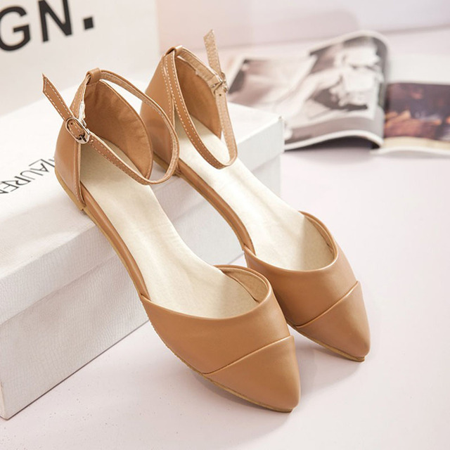 899421b71 Women s Summer Sandals Pointed Toe Hollow Flats Ladies Sandals White Party  Dress Shoes Female Leather Sandals Sandalias Mujer