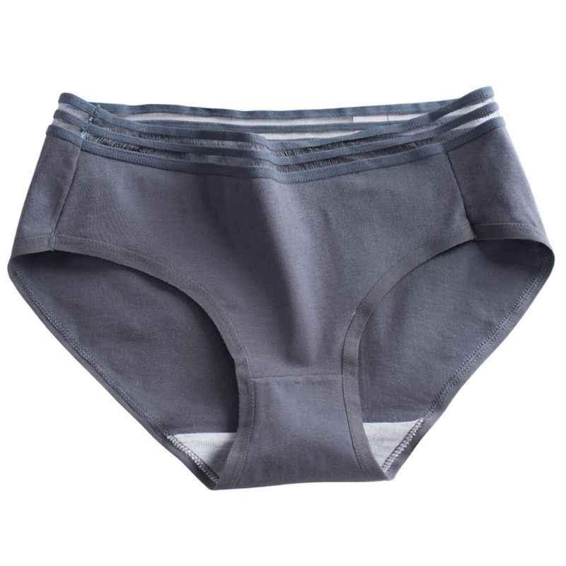 Roupa interior de algodão de cor sólida doce feminino oco cintura listrada mid rise calcinha tanga respirável triângulo briefs