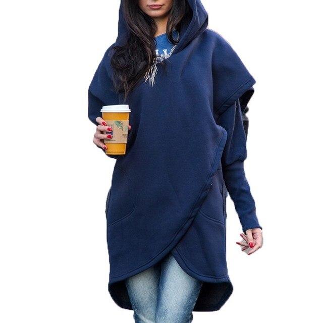 eb543e8682d ZANZEA Long Sleeve Hooded Pullover Sweatshirt Women Autumn Warm Leisure  Casual Solid Top Pockets Asymmetric Hem Stylish Blusas