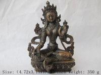 Chinese Tibet bronze Green Tara Kwan yin Bodhisattva Buddha Statue
