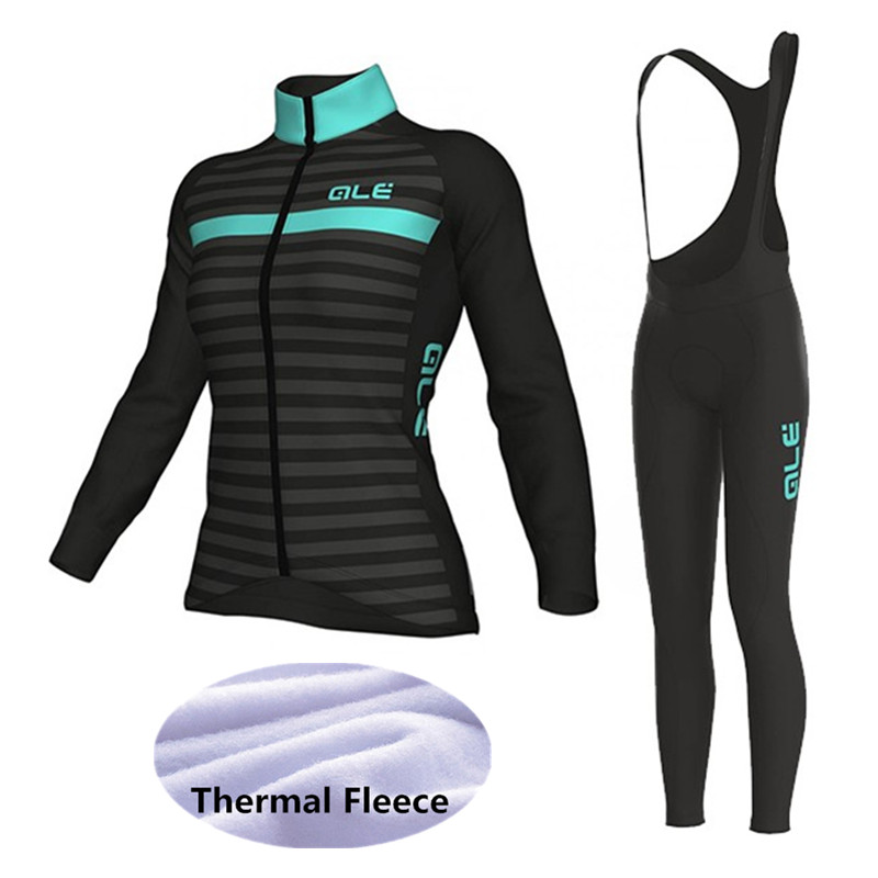 ALE 2018 Pro team Women Cycling Jersey Winter Thermal Fleece Cycling Clothing set Long Sleeve Outdoor Jerseys riding suits