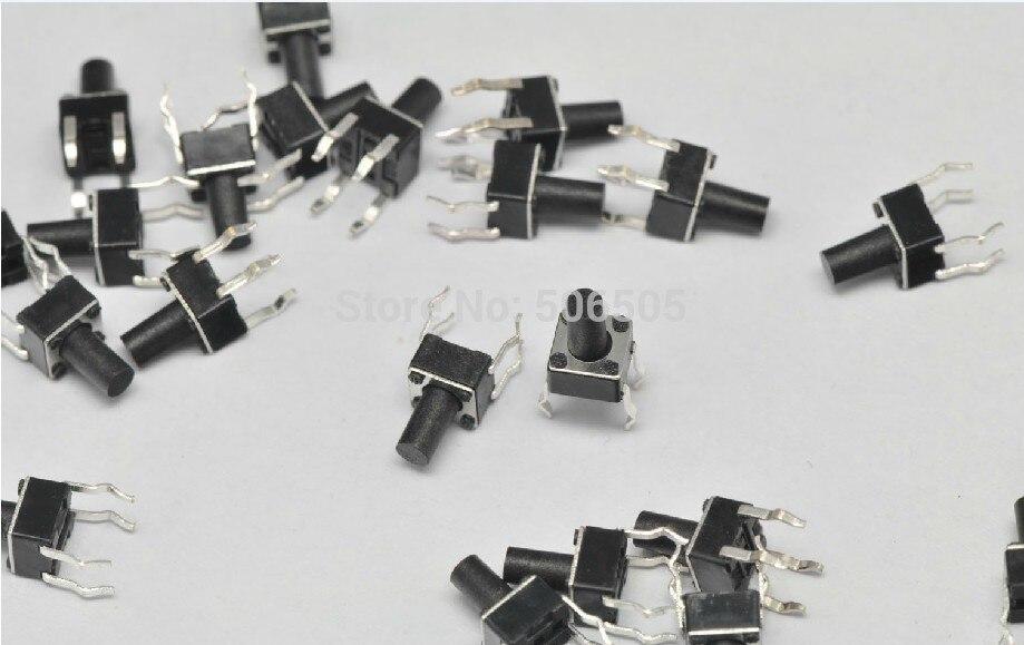 50Pcs 6x 6x 7mm 4broches DIP trou momentané bouton poussoir interrupteur tactile
