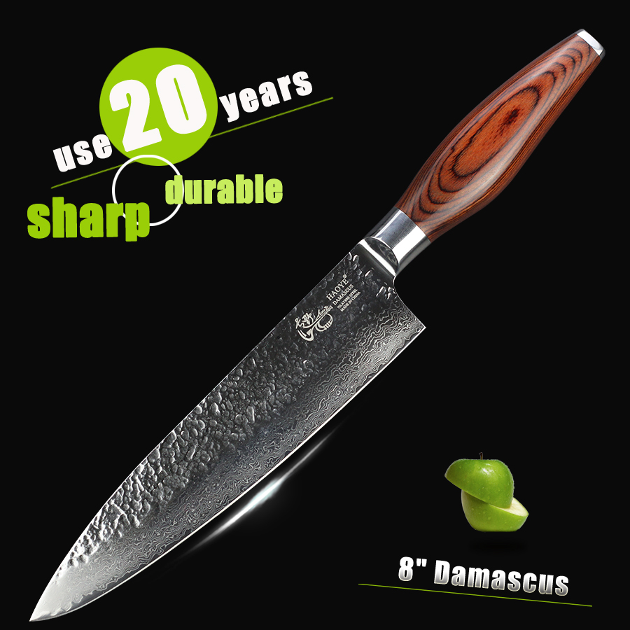HAOYE damascus chef cooking knife Japanese vg10 Hammer forged steel fish meat beef kitchen knife luxury