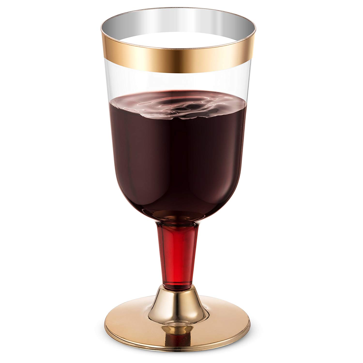 Gold Plastic Wine Glass Wine Cups -Clear Elegant Disposable Cups with Gold Rim- Durable Party Wedding Plastic Cups-25Pack