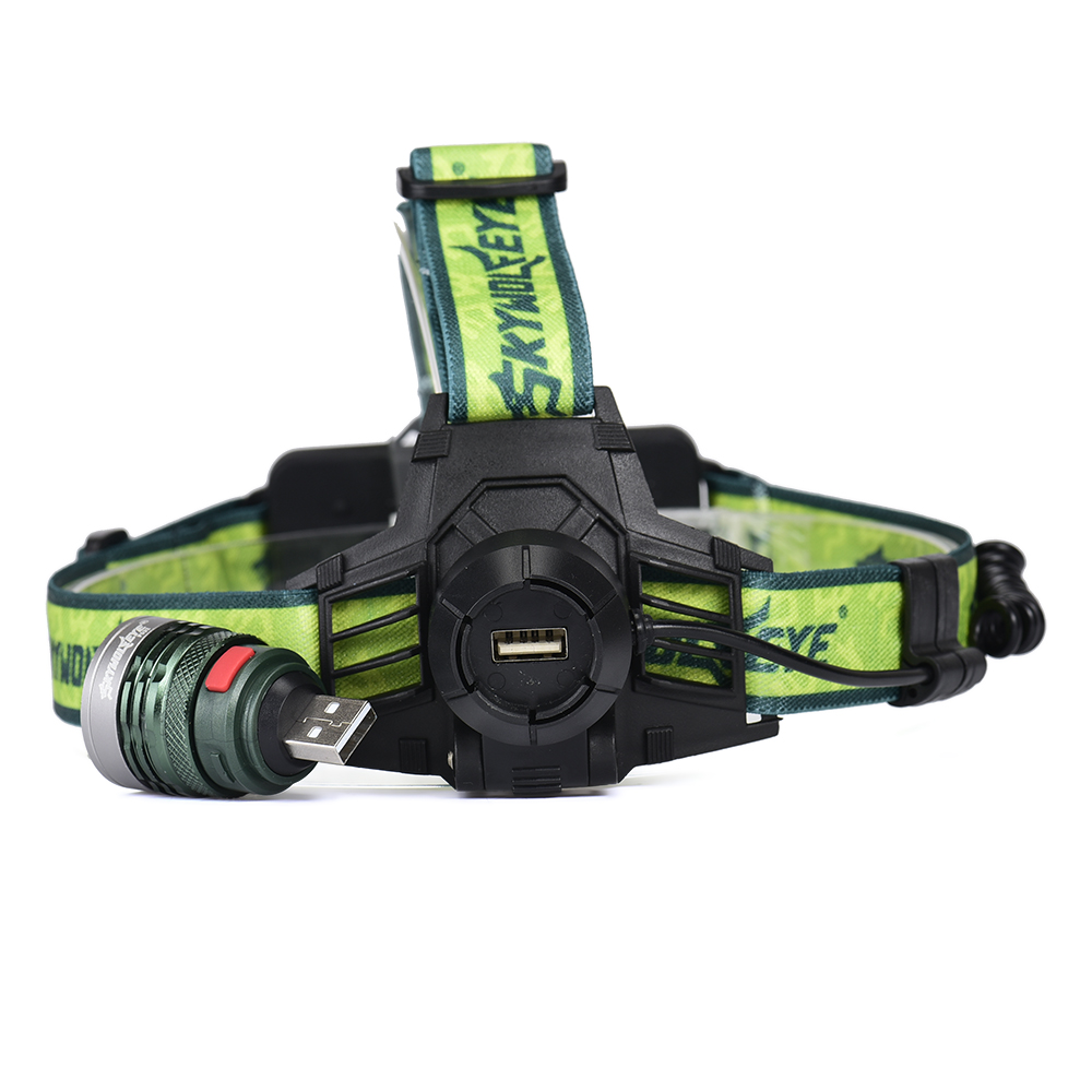 New LED Bicycle Chargeable Headlight Headlamp Zoom 500Lm 18650 Strong-light Removable Head Light Lamp for Outdoor +USB Cable T2