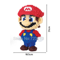 31cm 4500pcs Middle Bricks Super Mario block Cartoon Doraemon Figure Model Building Blocks Educational Set Kits Toy