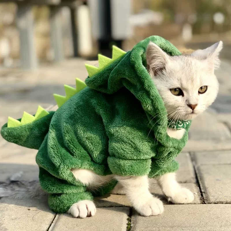 Pet Cat Clothes Funny Dinosaur Costumes Coat Winter Warm Fleece Cat Clothing For Small Cats Kitten Hoodie Puppy Dog Clothes