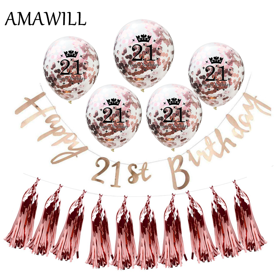 AMAWILL 21st Birthday Party Supplies Champagne Banner Rose Gold Confetti Latex Balloon For Decorations